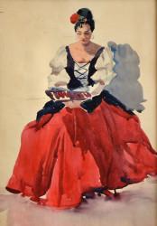 Кармен. Актриса Троян Л.В. Акварель, 47*32,5. 1965р.